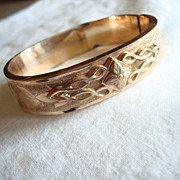 Dated 1870 Victorian Gold Filled Etched Bangle Bracelet