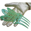 Art Deco Hair Comb Jade Green Celluloid Openwork Mantilla Design
