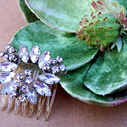 SALE Vintage Hair Comb Art Moderne Pale Blue Rhinestone Hair Accessory