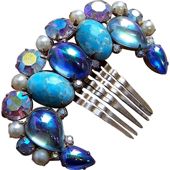 Vintage Hair Comb Hollywood Regency Blue Cabochon Hair Accessory