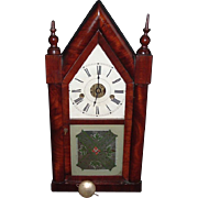 SALE Wm. S. Johnson Mahogany 8-Day Steeple Clock, C. 1850