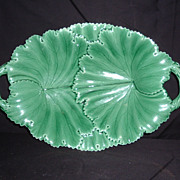 SALE Copeland Majolica Green Leaves Handled Serving Tray, C. 1850
