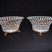 SALE Pair Of Old Paris Reticulated And Gilded Porcelain Corbeille W/ Claw Feet, C 1870