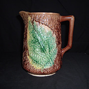 SALE Majolica Fern, Leaf  & Tree Bark Pitcher, Unknown, C 1880