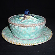 English Majolica Blackberry Basketwork Butter Dish W/ Lid, C 1880