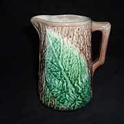 Majolica Fern And Bark Pitcher, Unknown Maker, C 1880