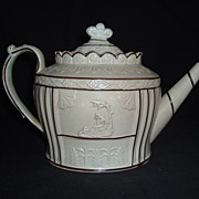 SALE Castleford Type Creamware Teapot, Unknown, C. 1810