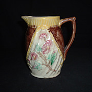 SALE English Majolica Floral And Basket-weave Pitcher, C. 1892