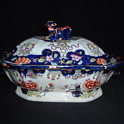 SALE Staffordshire Imari Covered Vegetable Tureen W/ Foo-Dog Finial, C. 1825