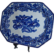 SALE Exquisite George Phillips Flow Blue Ironstone Lobelia Platter, C. 1845
