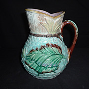 SALE English Majolica Banana Leaf Pitcher, C. 1880