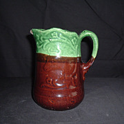 SALE Majolica-Style Earthenware Pitcher W/ Embossed Bull, C 1880