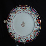 SALE Gorgeous Chinese Export Armorial Warming Plate W/ Family Crest, C. 1800