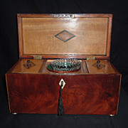 SALE Stunning Flame Mahogany And Inlaid Double Tea Caddy, C 1830