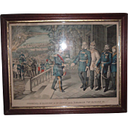 "SALE ""Surrender of Napoleon III on Sept. 2, 1870 �bergabe von Napoleon III"",  printe"