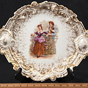 REDUCED Rare Mavaleix & Granger Limoges Rococo 1700's Gilded Courting Scene Platter, C 1920