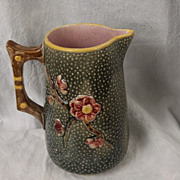 SALE Majolica Hummingbird and Prunus Pitcher