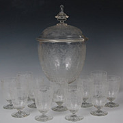 REDUCED Lobmeyr Atbd Hand-Blown Crystal Engraved Footed Punchbowl & 11 Matching Punch Goblets