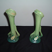REDUCED Roseville Pottery Mock Orange Green Bud Vases  979-7