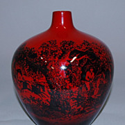 REDUCED Rare Royal Doulton Rouge Flambe Woodcut Vase, c. 1940