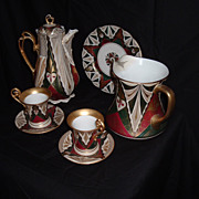 REDUCED Very Rare Vienna Porcelain Secessionist Geometric Design Dessert Set, C.F. Boseck, C.