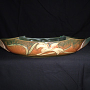 SALE Roseville Pottery Zephyr Lily Console Bowl #478-12, Green, Ca. 1946