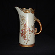 SALE Rare Royal Worcester Hand-Painted Pitcher, c. 1891