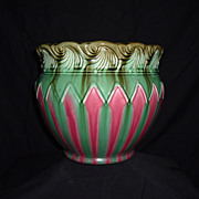 SALE Rare Weller or McCoy Majolica Blended Unmarked Jardiniere, 1900's
