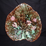 Majolica Victorian Oak Leaf Strawberry Vines and English Flowers Tray, 1880's