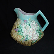 SALE English Majolica Turquoise Floral Basket-Weave Pitcher, c 1880