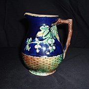 SALE Majolica Cobalt Blackberry Basket-Weave Milk Pitcher