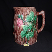 SALE Majolica English Wild Rose On Tree Bark Large Pitcher, c. 1875
