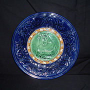 SALE Majolica English Cobalt Circle and Floral Band Elizabethan Lady Plate, c 1880
