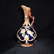 SALE Majolica Cobalt  Chrysanthemum and Daisy Ewer