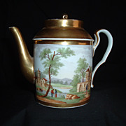 SALE Rare Fabrique De La Courtille, Hand-Painted & Gilded Teapot, C 1810