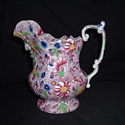 SALE 19th Century English Octagonal Floral Transfer-ware W/ Face Spout, C. 1850