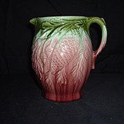 SALE Majolica Mottled Pine Cone And Oaf Leaf Pitcher, C 1880