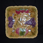 REDUCED Sarreguemines France Majolica Square Serving Bowl, C 1920