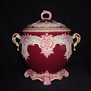 REDUCED French Faience Two-Handled, Gilded  and Lidded Soup Tureen,  C. 1890