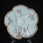 SALE Charles Field Haviland Limoges 5-Well Oyster Plate W/Gilding, C. 1882