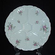 SALE O & E.G. Royal Austrian 6-well Rose Motif Oyster Plate, C 1889