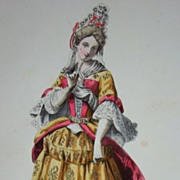 Antique French Hand Finished  Signed Fashion Engraving c1840