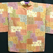 Unique Silk Patchwork-Effect Vintage Haori Art Deco era c1930