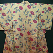 Antique Cerise and Beige Silk Floral Kimono c1900 Art Nouveau era.