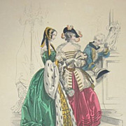 Mid Victorian Signed Colored Theatre Costume Engraving 'La Sylphide'