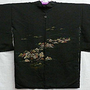 Vintage Black Silk Haori with 'Village' Pattern and Family Crest c1930 Art Deco era.