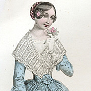 Victorian French Hand Colored Fashion Engraving  June 1847.