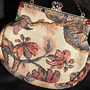 SALE French Tapestry Evening Purse with Decorative Brass and Cabochon Glass Frame and Clasp.