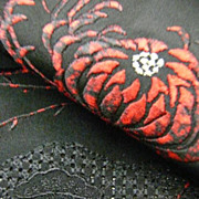 Vintage Bold Black and Red Hand Embroidered Haori c1970