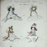 Antique Hand Colored Fashion Magazine Illustration/Engraving 1833